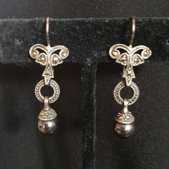3525940d1 Jewelry | Sterling Silver Marcasite Drop Earrings | Poshmark